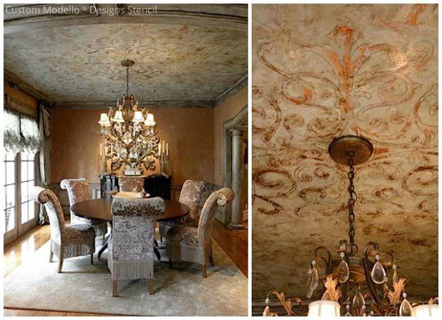 Modello Designs Stencil With Venetian Plaster Via Tiffany Alexander Paint Pattern Venetian Plaster Diy Ceiling Ceiling Design