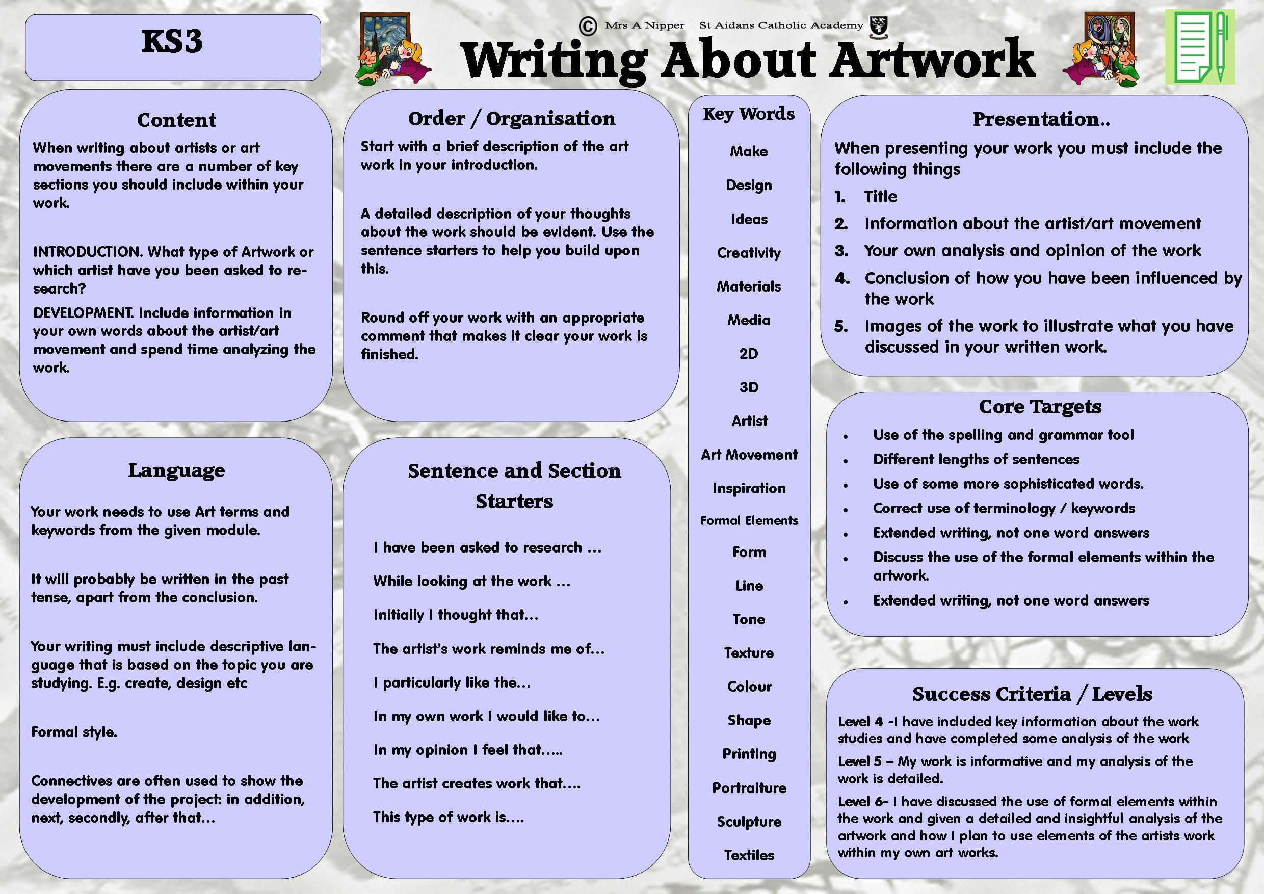 ks3 literacy mat includes key words and helpful hints for writing about art and looking at. Black Bedroom Furniture Sets. Home Design Ideas