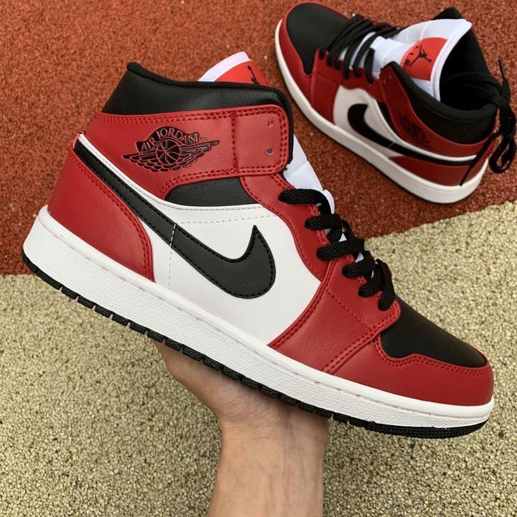 Jordan 1 Mid Chicago Toe in 2020 | Nike red sneakers, Red ...