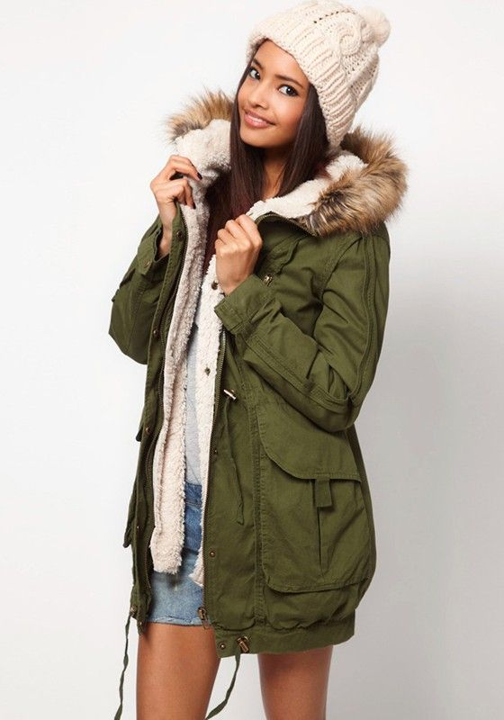 Army Green Pocket Faux Fur Hooded Cotton Blend Parka Coat | Parka ...