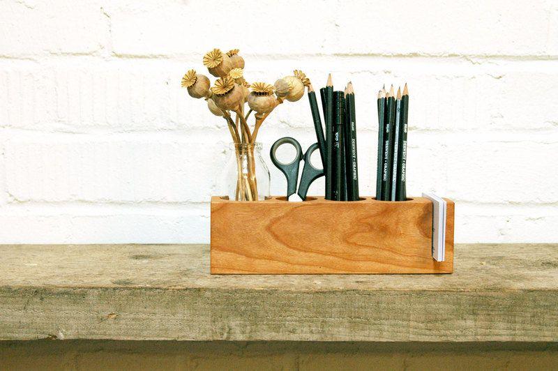 *1*+Stifthalter+mit+Vase+und+Zettelhalter+Kirsche+von+blumen-wiese+auf+DaWanda.com