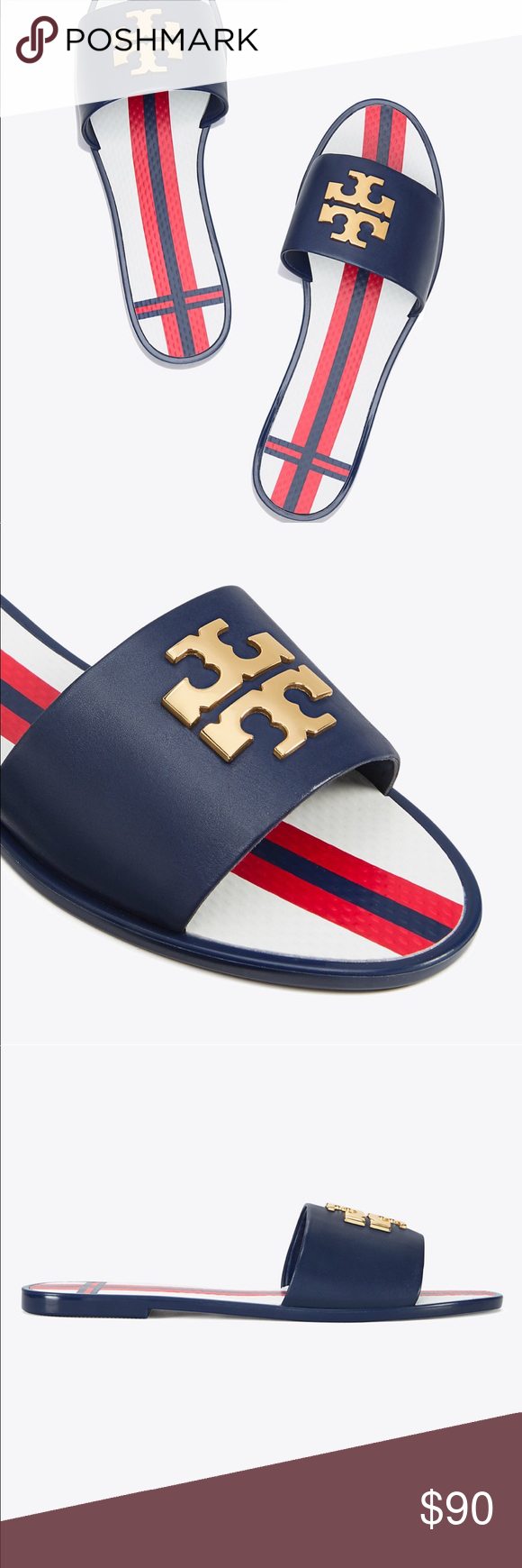c9b91f38e769da Tory Burch Jelly slides Brand new in box. Size 7. Large gold front logo