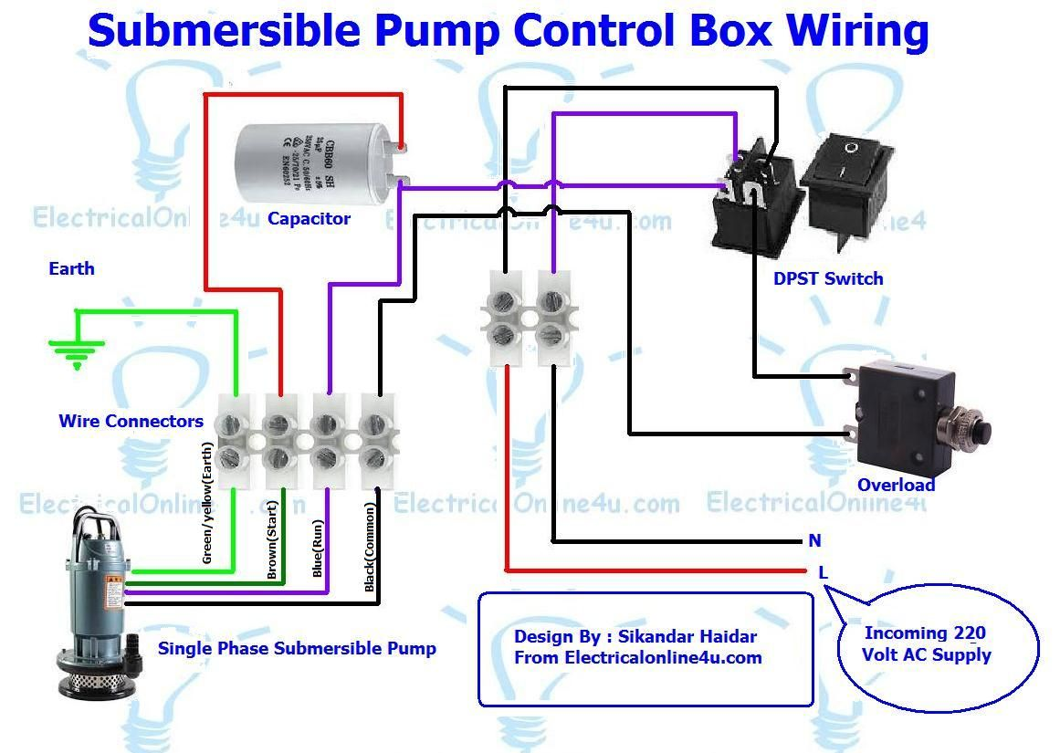 Submersible Pump Control Box Wiring Diagram For 3 Wire Single Phase | Electric engineering