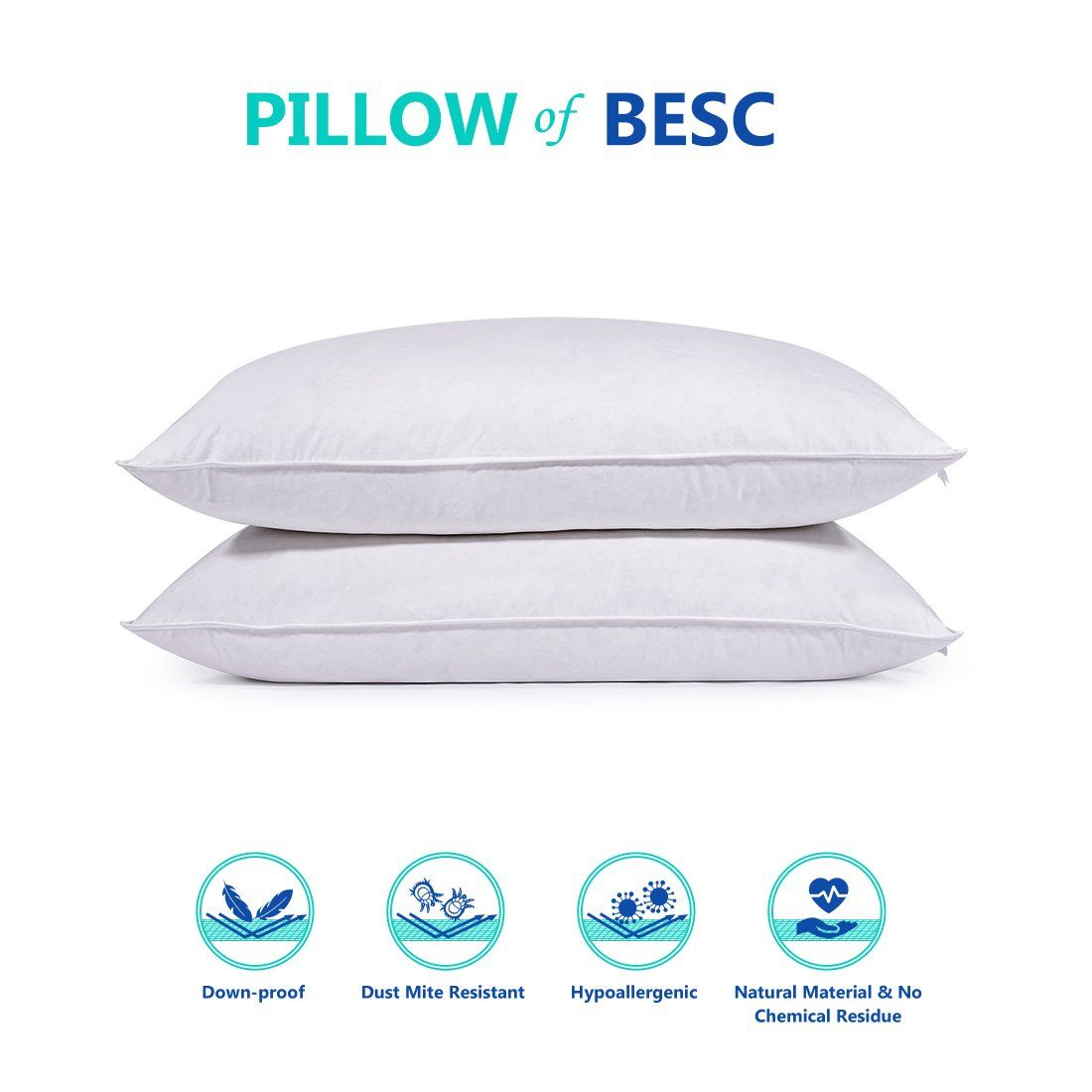 Standard Queen Size Goose Feather And Down Bedding Pillow Insert Pack Of 2 Hotel Collection Pillows For Sleeping 10 Bed Pillows Pillows Goose Feather Pillows