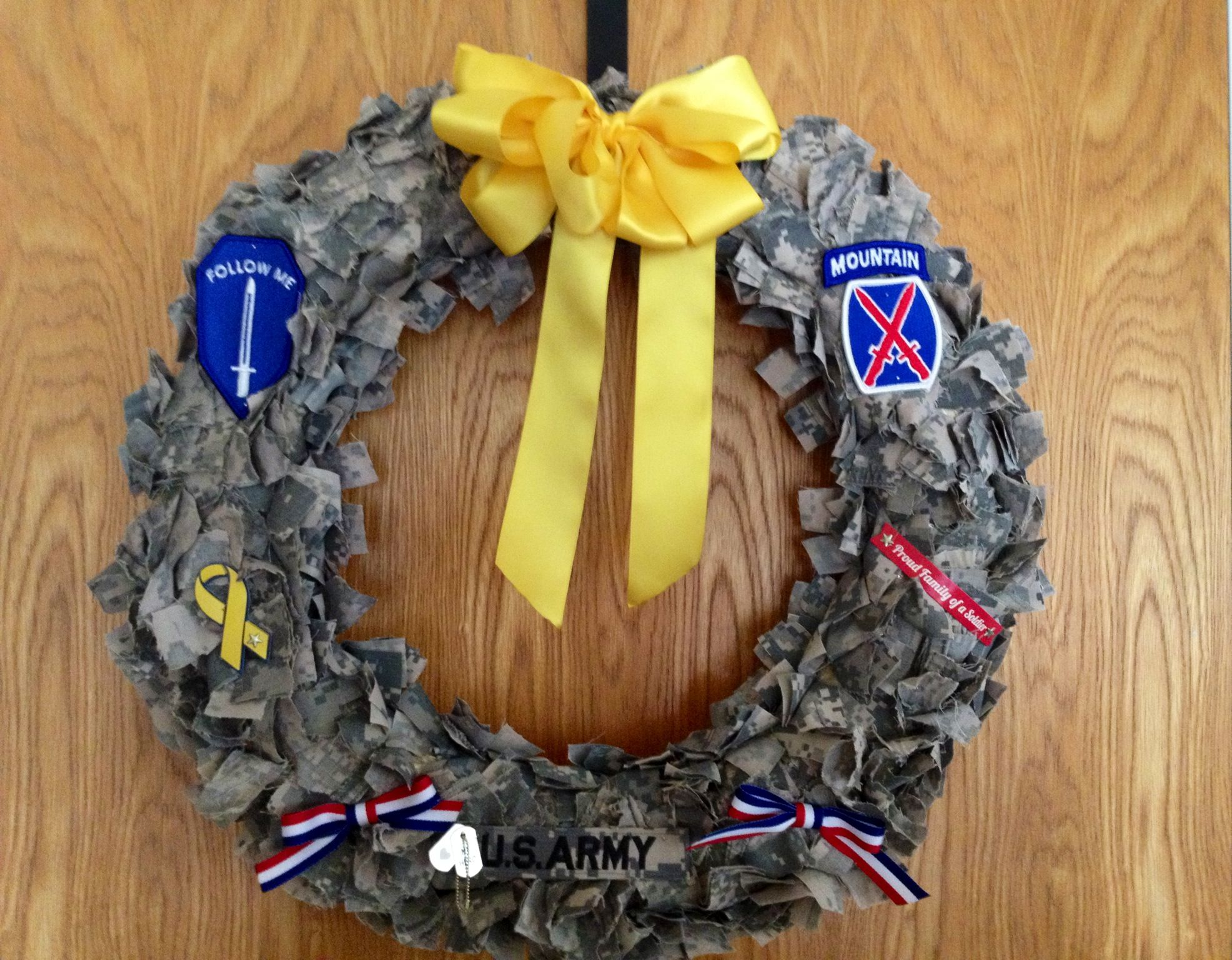 DIY Deployment wreath from used ACUs and straw wreath base ...