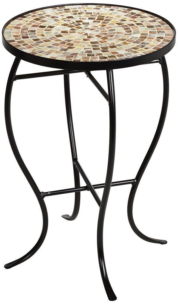 Mother of Pearl Mosaic Black Iron Outdoor Accent Table #TealIslandDesigns