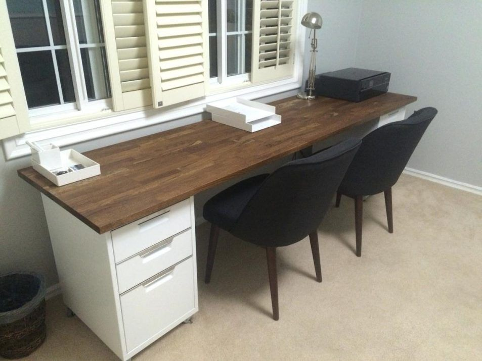 Office Design Double Desk 98 Inch Oak Ikea Numerar Butcher Block With Walnut Stain Finish Two File Ca Interior Paint Painted Interior Doors Butcher Block Desk