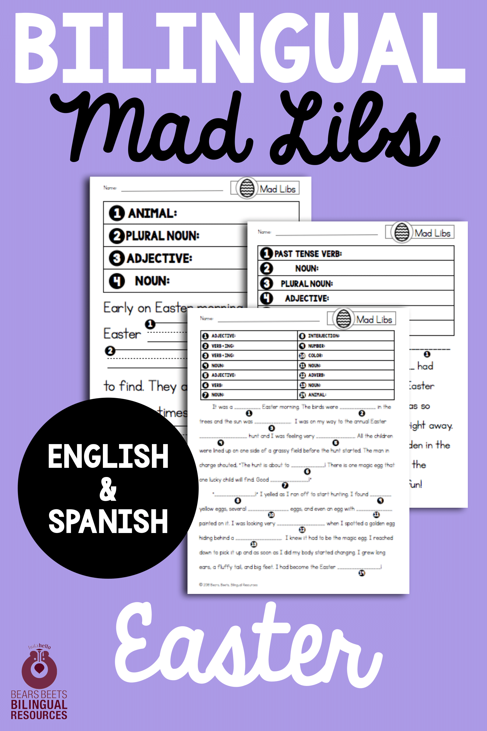 Bilingual Easter Mad Libs With Images