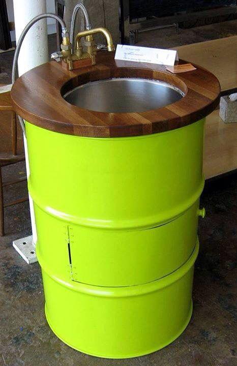 De tambo a lavabo reciclaje pinterest lavabo y reciclaje - Reciclaje de pales ...