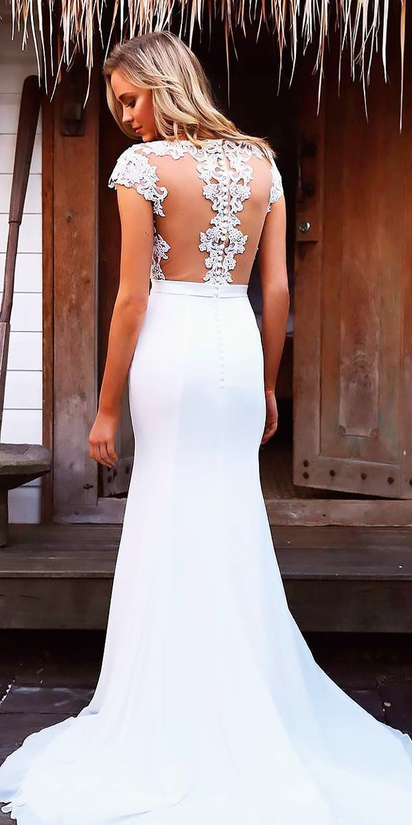 9c7dbd1295 30 Wonderful Beach Wedding Dresses For Hot Weather ❤ backless sheath with  short sleeves beach