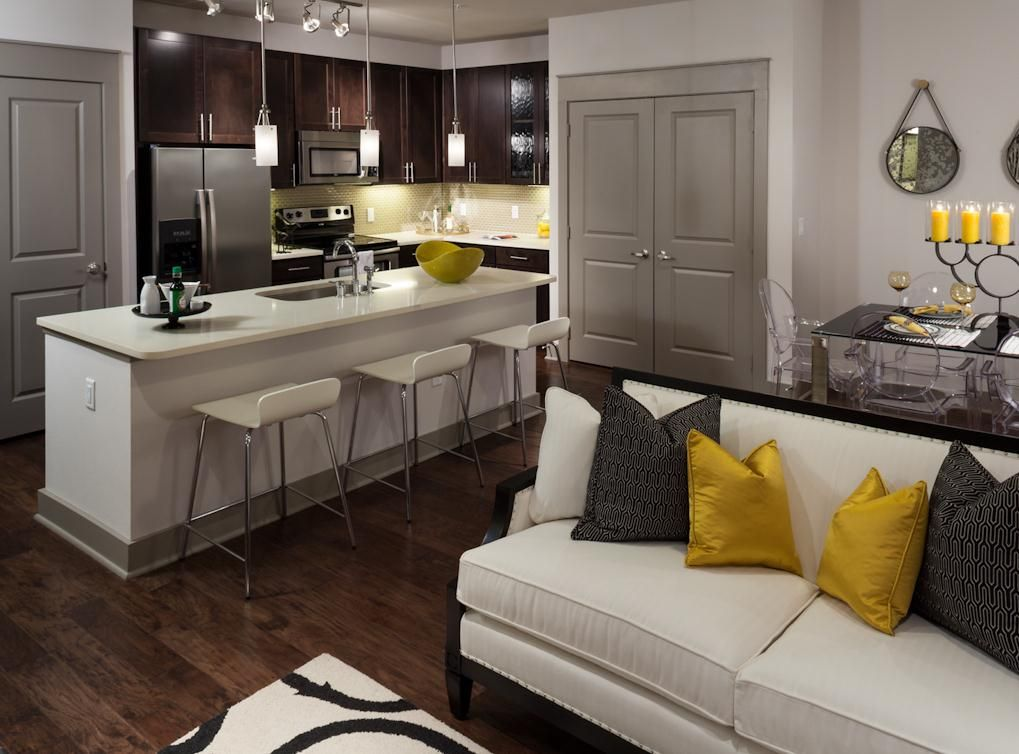 Living Room Kitchen In Apartment Amli On Maple Dallas Apartments Luxury Dallas Apar Luxury Apartment Decor Apartment Decor Farmhouse Decor Living Room
