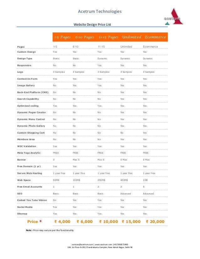Web Design Price List Google Search Website Design Pricing Web Design Pricing Website Design