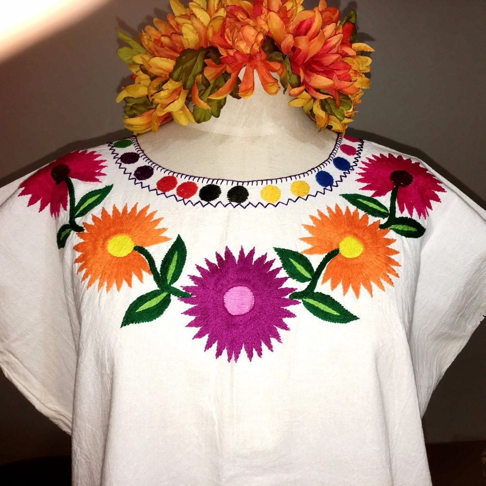 Ivory & Multi Color, Hand Embroidered Mayan Huipil, Chiapas Mexico, Hippie, Boho  | eBay