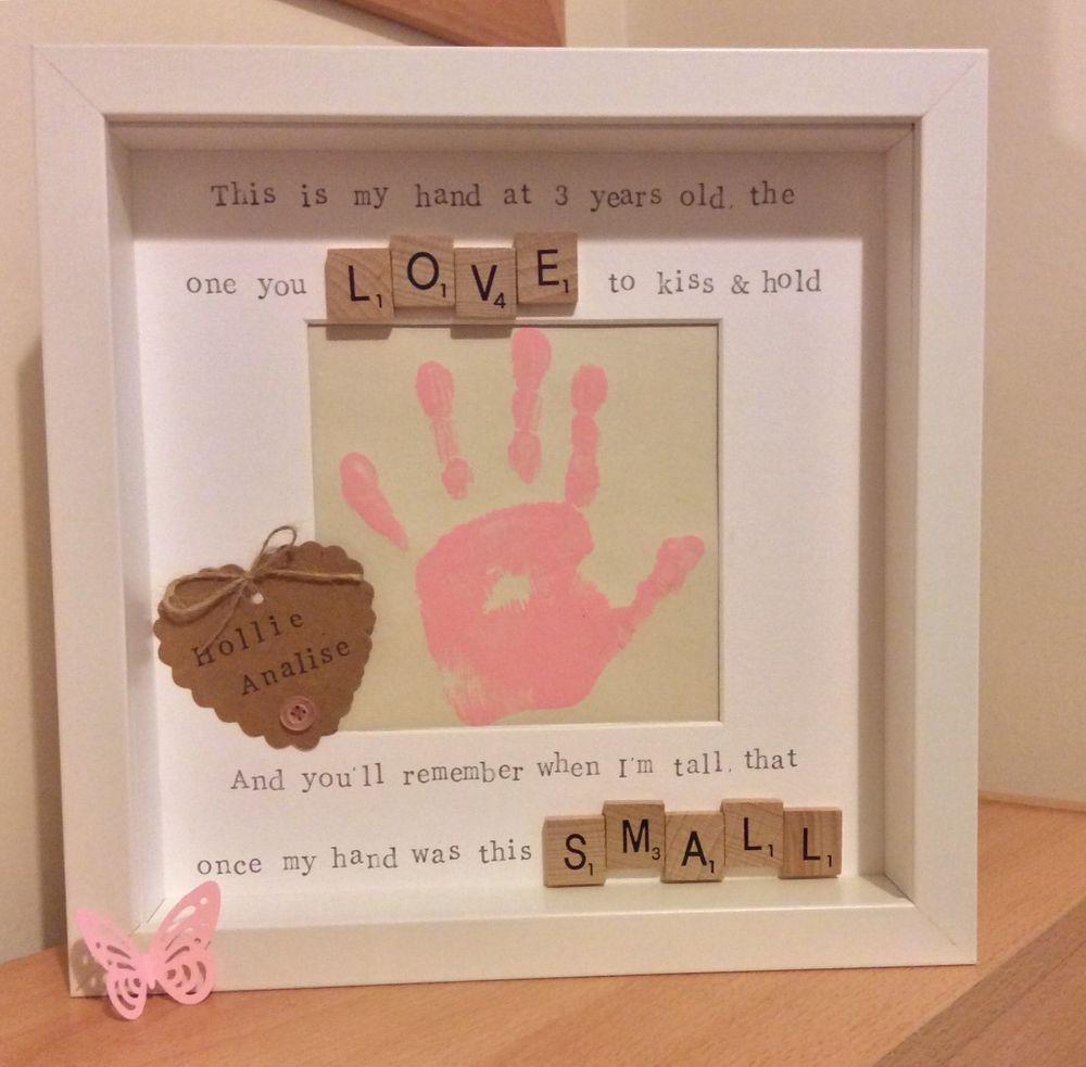 handmade scrabble tile frame mothers day gift child handprint poem - Mothers Day Picture Frame