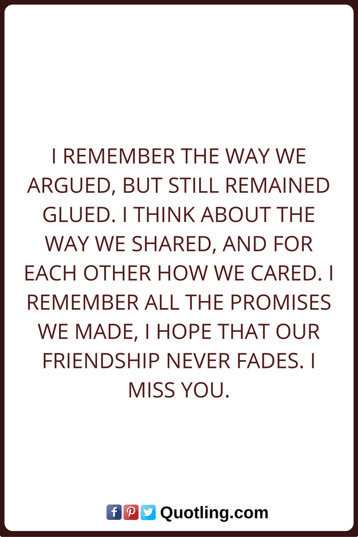 Quotes About Mending Friendships Miss You Quotes I Remember The Way We Argued But Still Remained