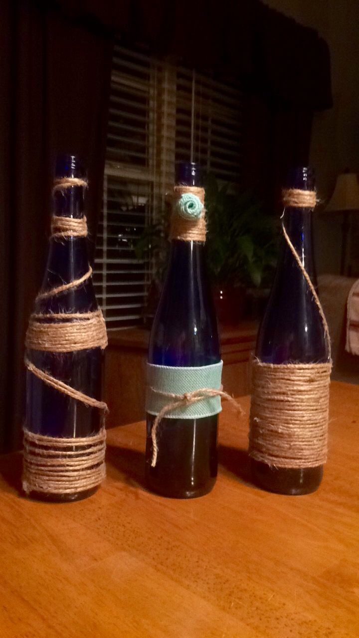 Finally did something with the empty wine bottles iuve been saving