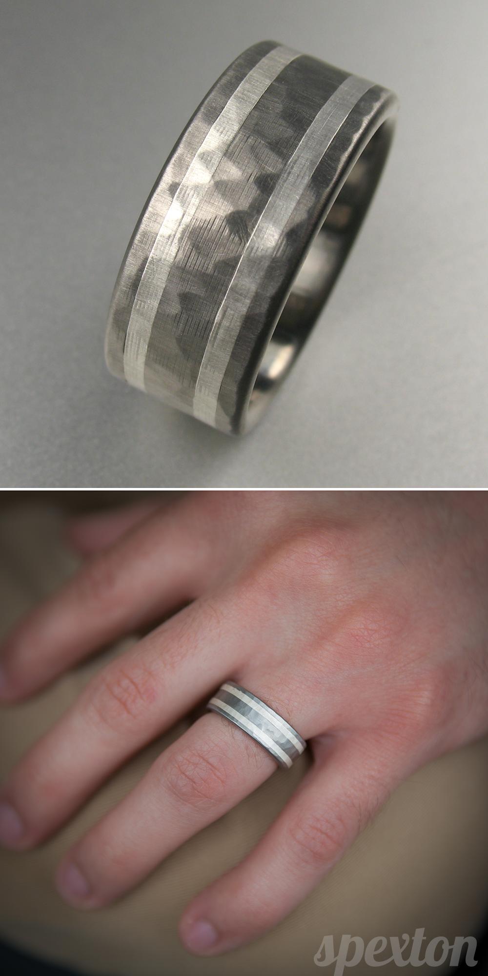 Brilliant Bijou Titanium 8mm Beveled Edge Hammered and Polished Band