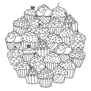 adult coloring pages · download and print for free   just color  cupcake coloring pages