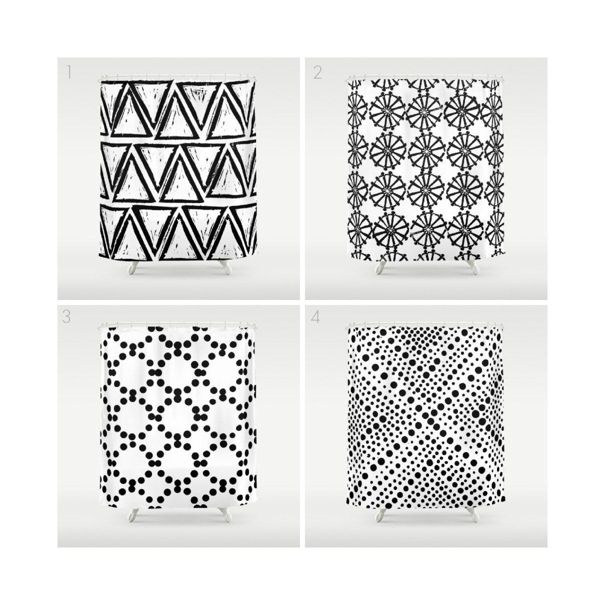 Polka dot shower curtain black and white - Shower Curtain Modern Designer Geometric Prints In White And Black Bold Patterns In Triangle