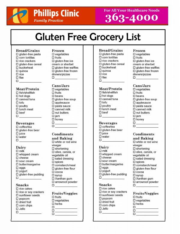 Printable Grocery List Of Gluten Free Foods
