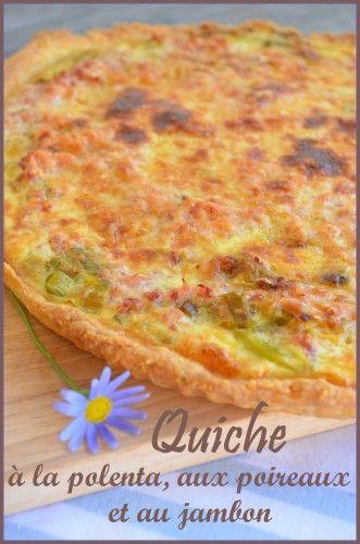Quiche à la polenta, poireaux et jambon