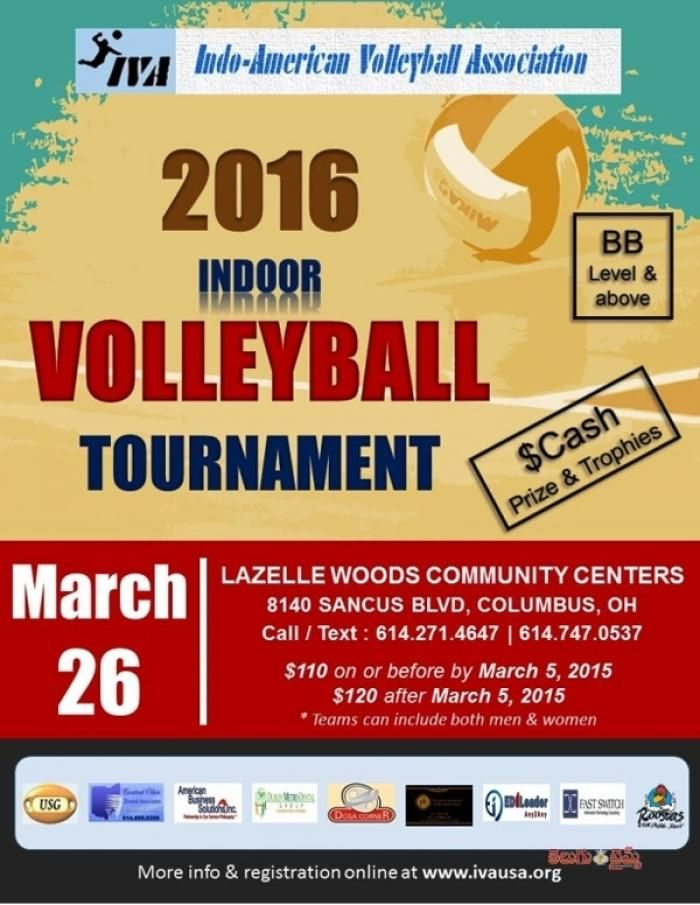Indoor Volleyball Tournament 2016 In Columbus At Lazelle Woods Community Centers 8140 Sancus Boulevard We Volleyball Tournaments Indoor Volleyball Volleyball