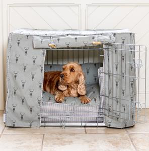 Dog Crate Set in Sophie Allport Highland Stag Dog crate