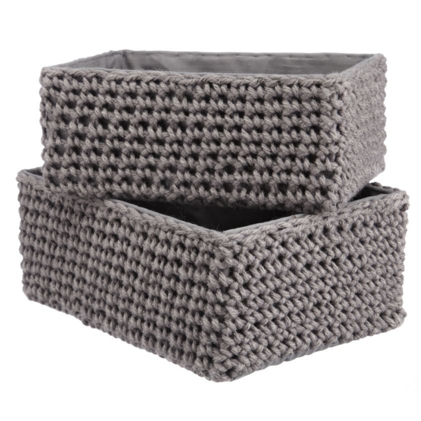 Knitted Grey Storage Boxes Set Of 2 Natural Storage