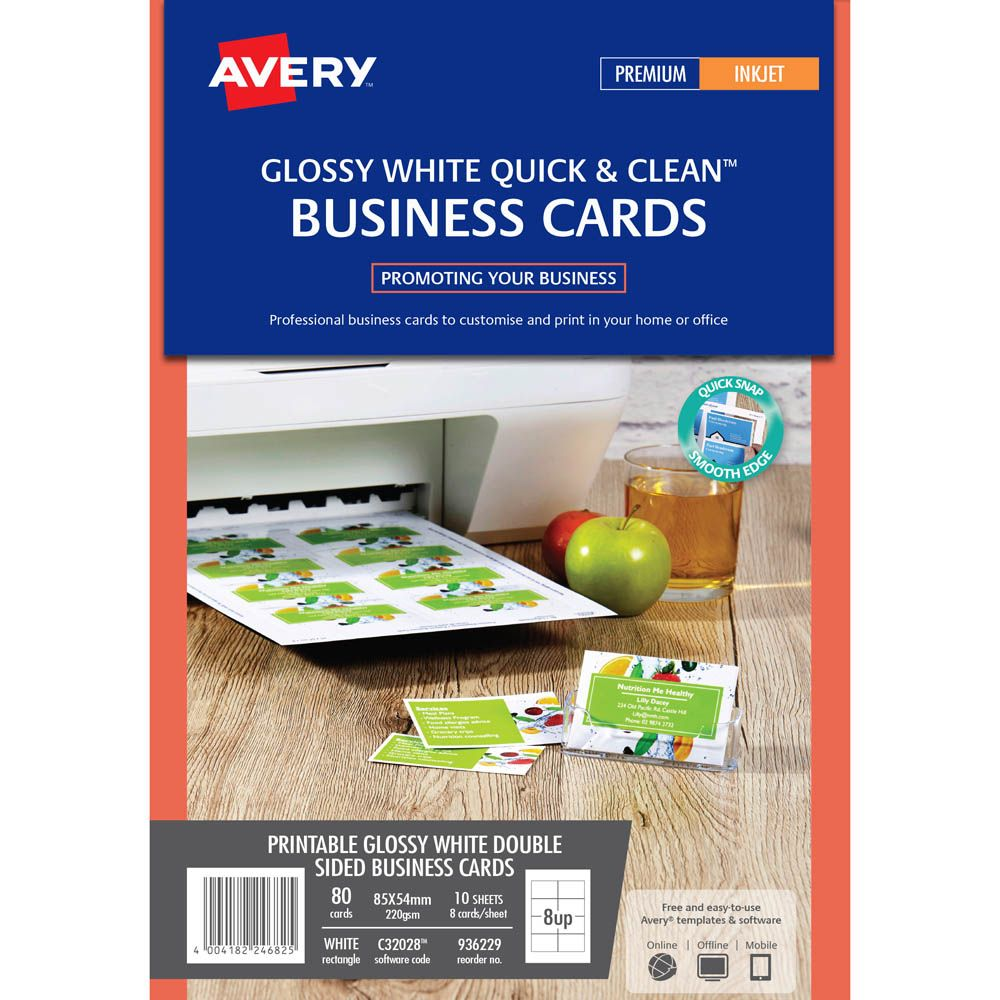 Avery 936229 C32028 Quick Clean Business Card 220gsm 85 X Throughout Office Cleaning Business Cards Office Depot Business Cards Keller Williams Business Cards