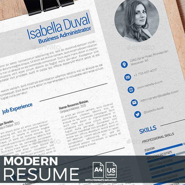 Modern Resume Template PSD, InDesign INDD, AI Illustrator Resume