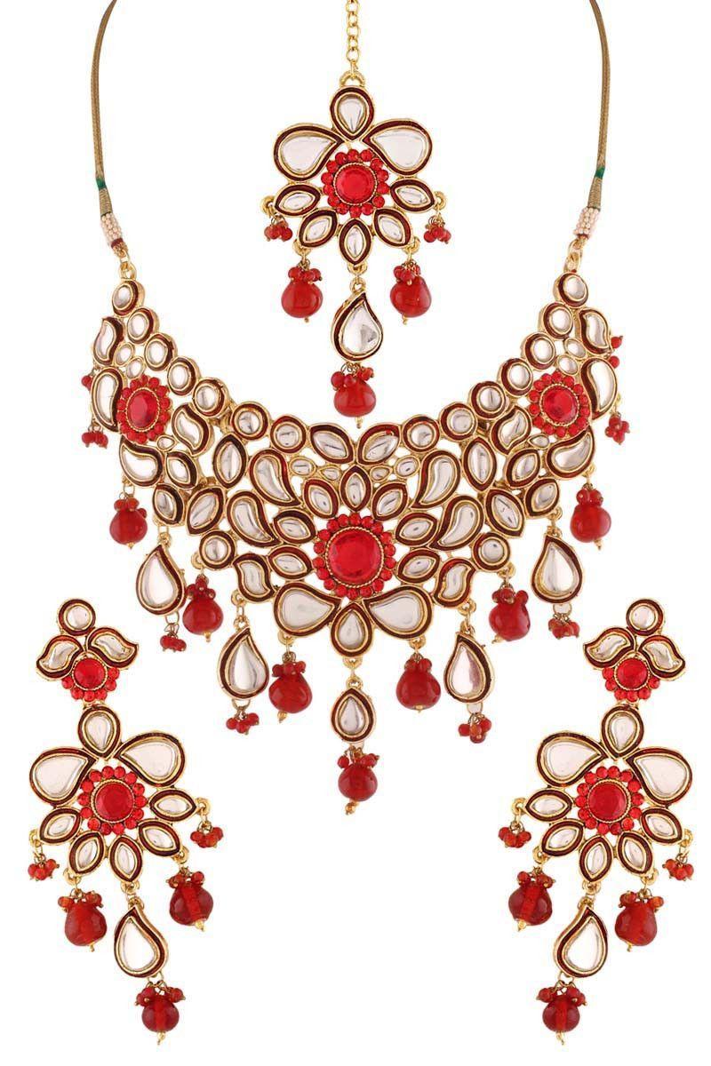 Red gold plated kundan necklace set necklace sets on variation in