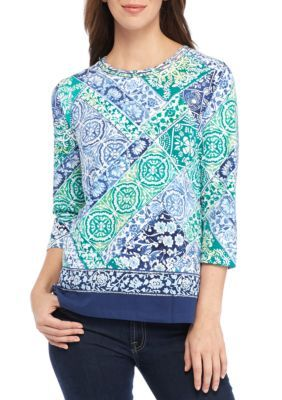 ff12f6e6143 Alfred Dunner Women s Patchwork Knit Top - Multi - Xl
