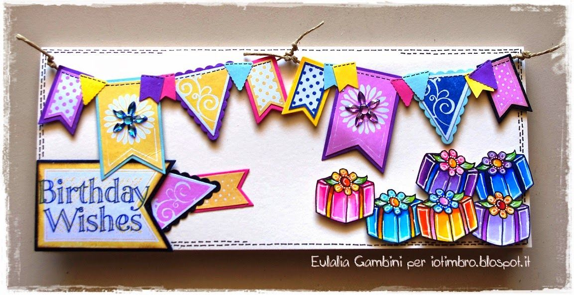 Banners card coloured with Copic by Eulalia