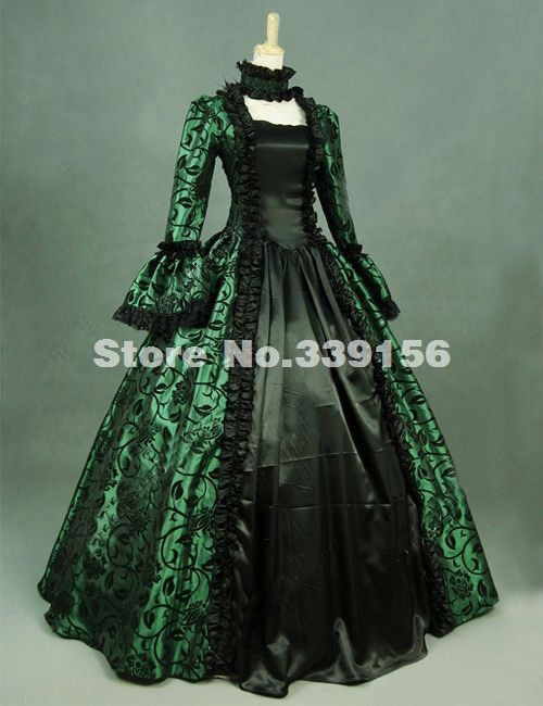 Hot Sale 18th Century Green Print Victorian Brocade Steampunk Dress  Renaissance Marie Antoinette Gothic Ball Gown Costume 067d4db31bed