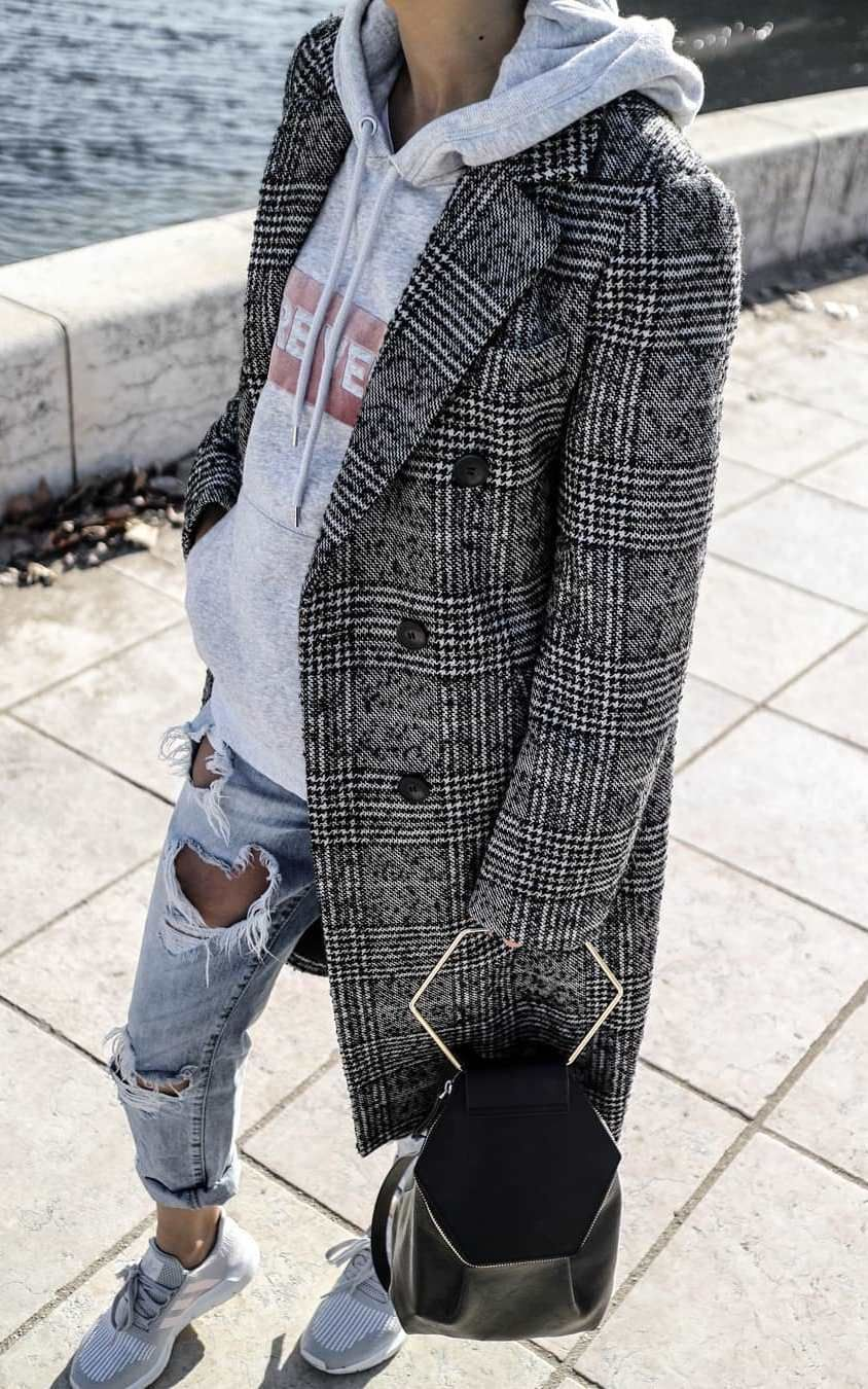 what to wear with a pair of ripped jeans   black bag + sneakers + plaid  coat + grey sweashirt 0b563f20fbd