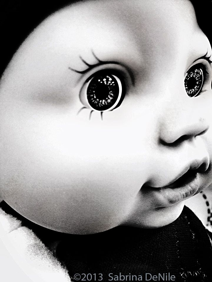 Doll Face by Sabrina DeNile ©2013 ~ Creepy monochromatic doll eyes  http://www.flickr.com/photos/bluevisitor/  creepy, black and white, spooky, doll, doll face, eyes, monochromatic, open eyed, toy