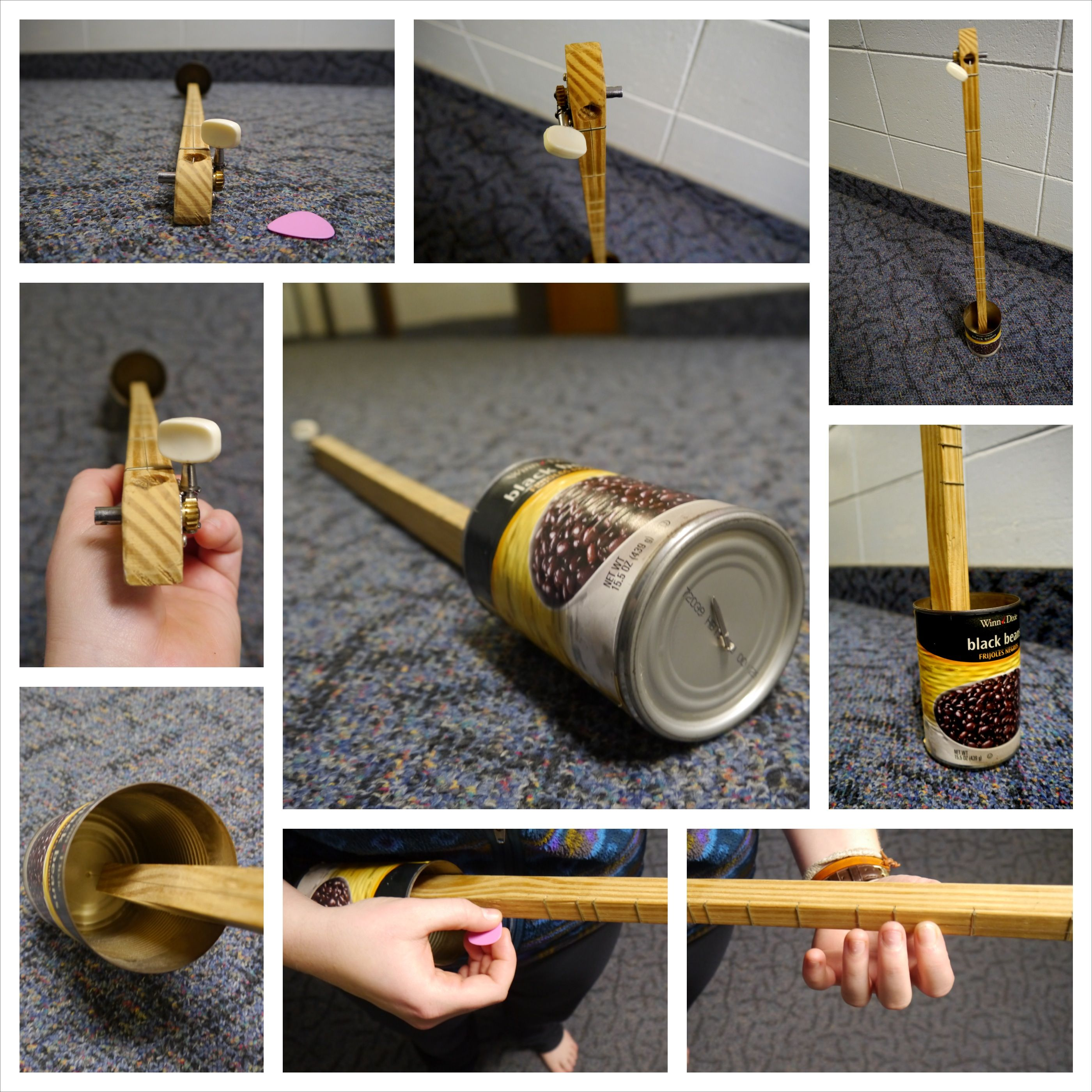 Behold: The Canjo! Made from a can, nail, wooden neck, and