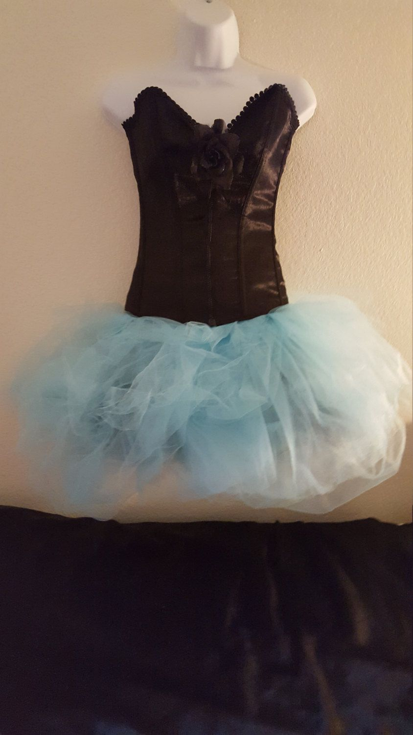 Sweetheart Black Satin Drop Waist Corset Powder Blue Tulle Tutu Mini ...