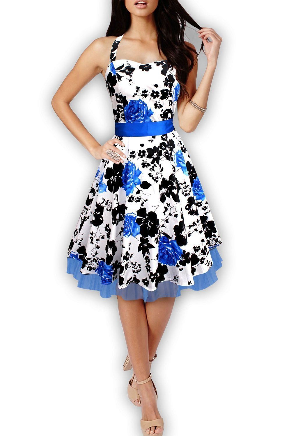 new summer style floral print party dresses women rockabilly