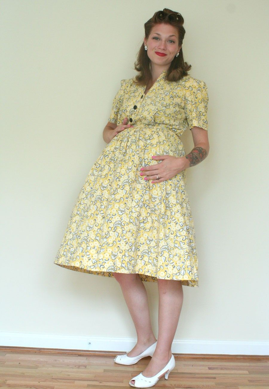 b2b30e493cd 40s Yellow Floral MATERNITY Dress - Feedsack Delight