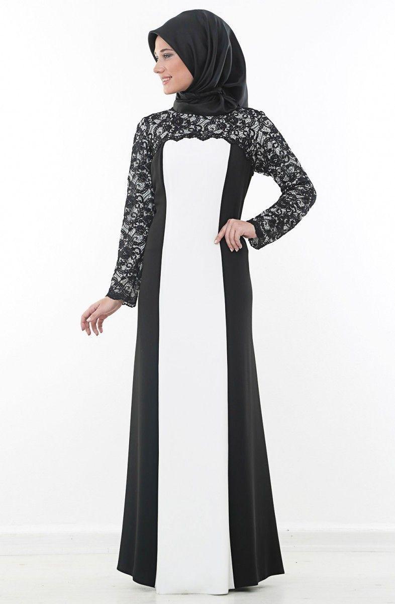 Nurla bisiklet yaka siyah beyaz tesettür abiye elbise