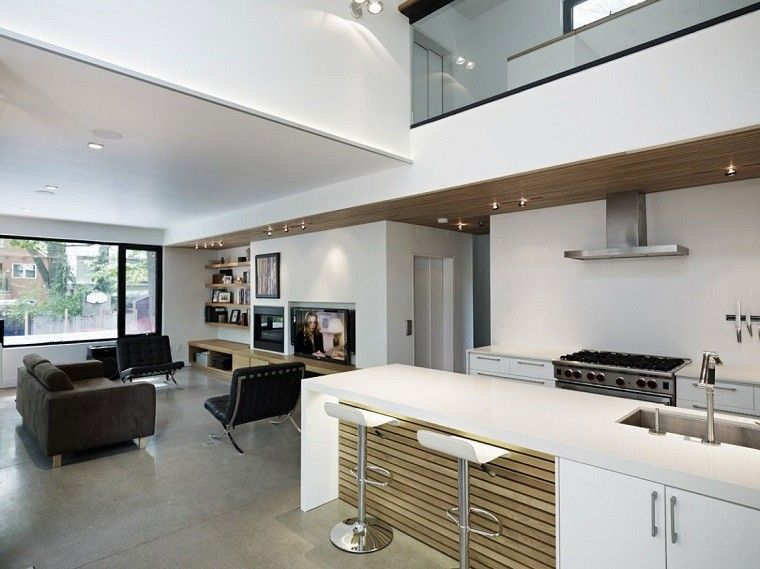 Cocina abierta salon moderno dise o interior pinterest for Disenos cocinas abiertas