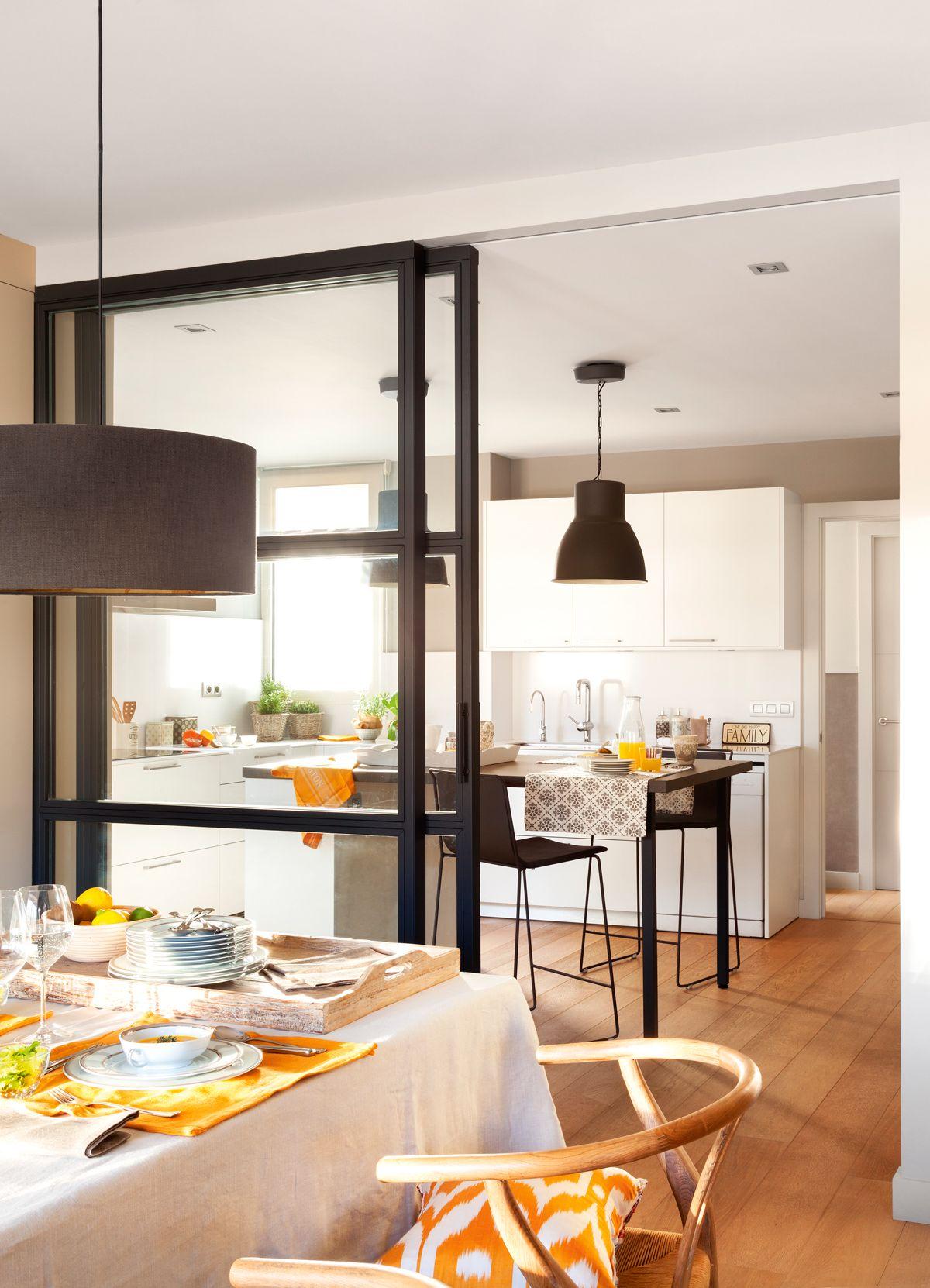 Globos vintage puertas correderas for Cocina abierta al comedor y sala de estar