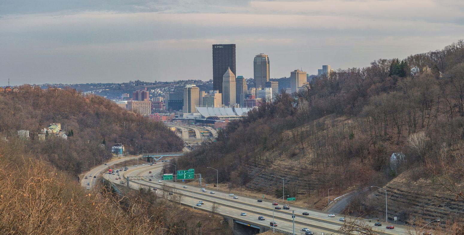 Panoramas Pittsburgh Panorama From Above 279 At Dusk Panorama Scenery Monongahela