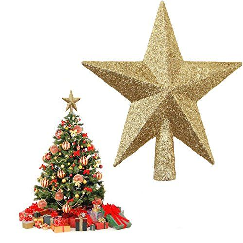Gold Glitter Mini Star Treetop Christmas Tree 6 Inch Material