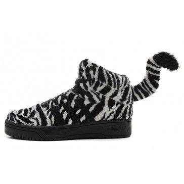 0df26d6b8 Jeremy Scott x Adidas Originals Zebra High Tops Shoes with Tail Black White