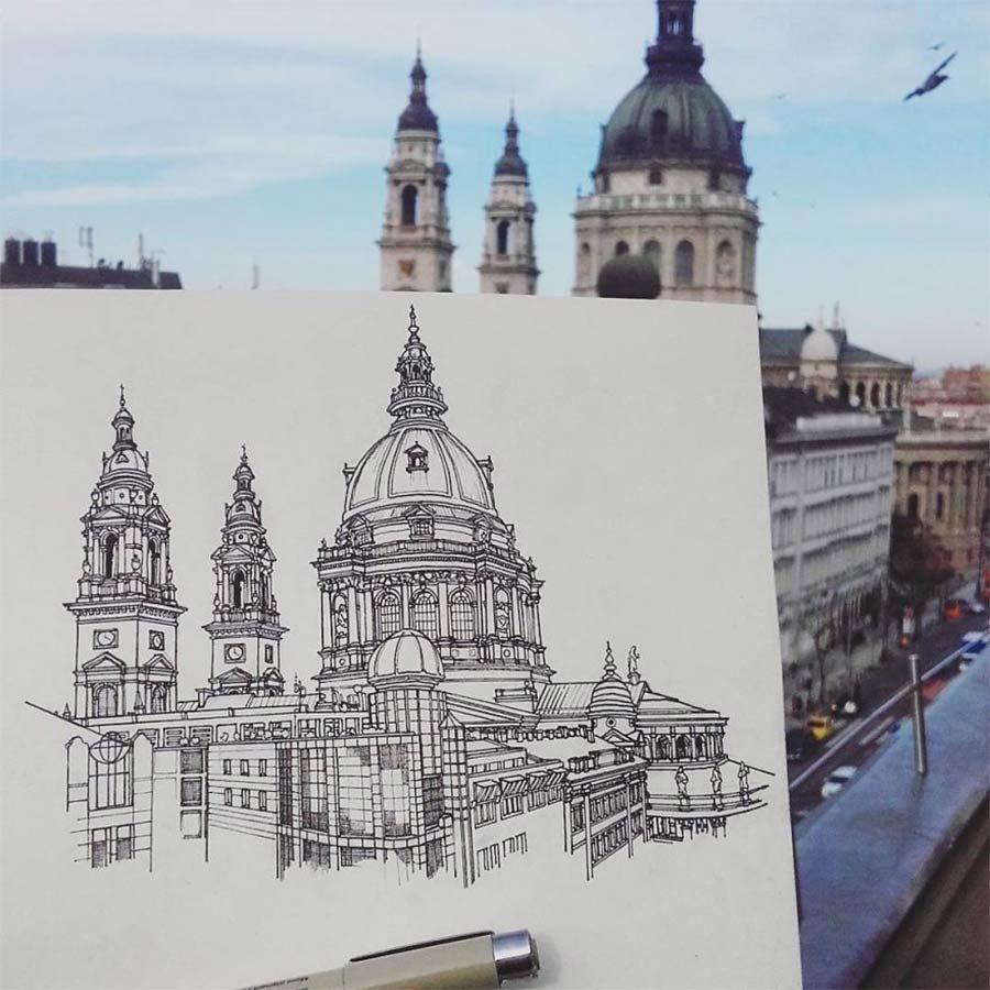 Jede Stadt der Europareise zeichnerisch festhalten #arquitectonico