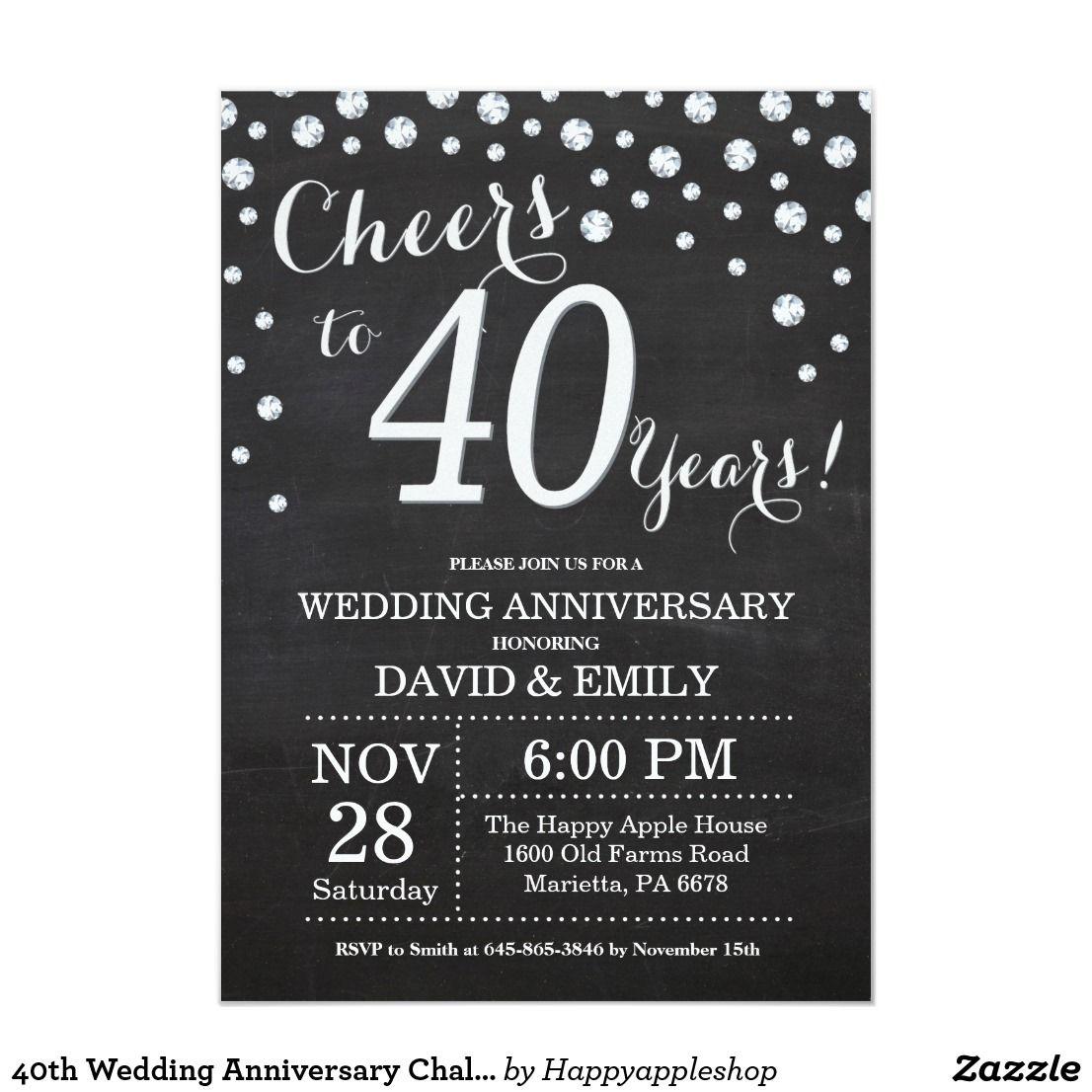 40th Wedding Anniversary Chalkboard Black Silver