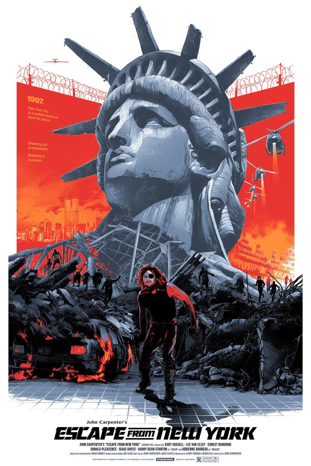 Escape from New York Domaradzki Gabz Regular Grey Matter not Mondo Posters | eBay
