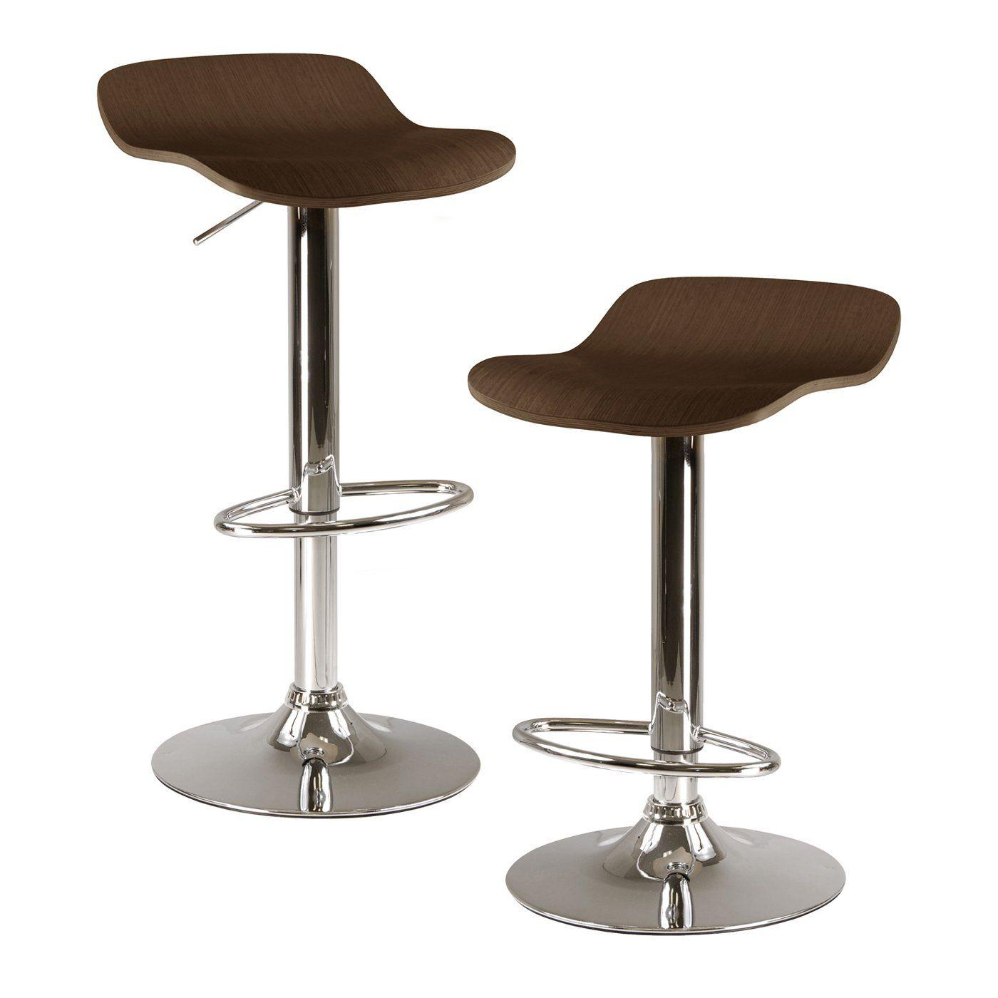 modern brown Colorado City Adjustable Bar Stool Set of 2 Winsome WoodAdjustable